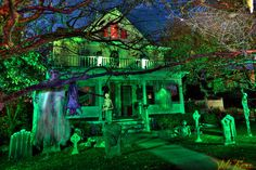 Like the green lighting. Maybe put a sound system out there Halloween night and play a spooky Halloween track, if the neighbors are okay with it!