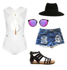 sunny day by alegaravito on Polyvore featuring polyvore fashion style Balmain Maison Michel RetroSuperFuture clothing