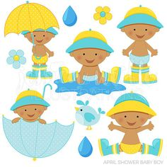 April Shower Baby Boy Dark Cute Digital Clipart for