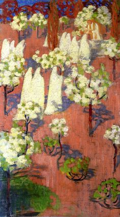 Virginal Spring (Flowering Apple Trees) oil on canvas - Maurice Denis 1894 French Maurice Denis, Paul Gauguin, Pierre Bonnard, Edouard Vuillard, Anime Comics, Van Gogh, Felix Vallotton, Art Français, Monet