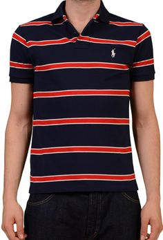 fa698d315 POLO By RALPH LAUREN Navy Blue Striped Cotton Costum Fit Polo Shirt EU 48  NEW S