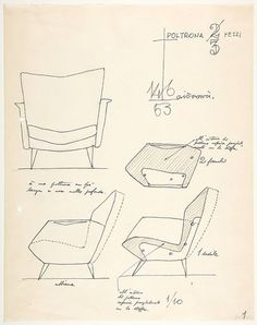 Gio Ponti 3-step chair. Italian Designer