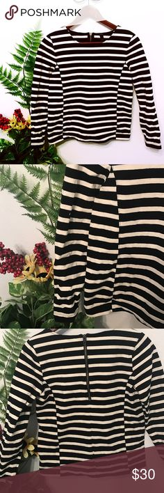 J. Crew top 100% thick cotton top with zipper closer at the back and long sleeved and black and white striped😍. 16in bust, 20in long and 21in sleeves😍 J. Crew Tops Tees - Long Sleeve