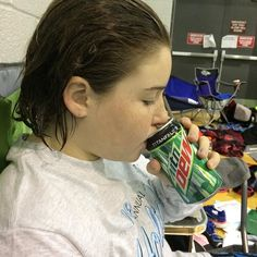 Mini Me doesn't get to drink sofa often but after dropping 30 seconds in 200 breaststroke her reward from one of her coaches was a rarely allowed Soda #MountainDew #swimming #SwimTeam