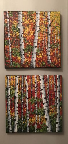 Small wall art Original painting Abstract Landscape Birch