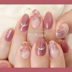 ネイル ネイル in 2020 Flower Nail Designs, Cool Nail Designs, Bridal Nails, Wedding Nails, Cute Nails, Pretty Nails, Gel Nail Tutorial, Kawaii Nails, Pastel Nails