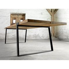 Modern contemporary Large Vintage Rustic wood dining room tables in modern industrial design, hand made from solid English oak at our Retro Beautiful store UK