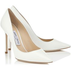 ROMY 100 (695 AUD) ❤ liked on Polyvore featuring shoes, pumps, heels, sapatos, white pumps, jimmy choo shoes, heel pump, white pointy toe pumps and white pointed toe pumps