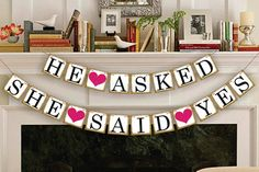 He asked SHE said YES Banner Bunting Wedding Bridal Shower Party Decoration #Unbranded