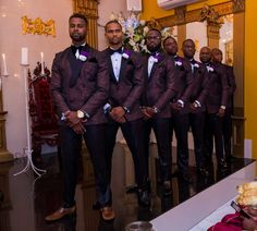 Ona and Osa's Southern Glam Wedding with Nigerian Flair in Virginia Professional Wedding Photography, Wedding Photography Poses, Wedding Poses, Wedding Ideas, Purple Groomsmen, Groom And Groomsmen, Groomsmen Tuxedos, Groomsmen Poses, Purple And Gold Wedding Themes