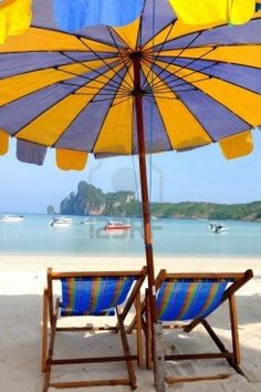 Picture of Beach umbrellas and sunbeds at white sandy beach stock photo, images and stock photography. Umbrella Art, Beach Umbrella, Summer Beach, Summer Fun, Summer Colors, Beach Shade, Beach Items, Parasols, Beach Images