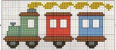 Amor Perfeito Gráficos de ponto cruz: Trenzinhos - Crafts To Love Cross Stitch Sea, Cross Stitch For Kids, Cross Stitch Bookmarks, Cross Stitch Cards, Cross Stitch Borders, Cross Stitch Designs, Cross Stitching, Cross Stitch Embroidery, Cross Stitch Patterns
