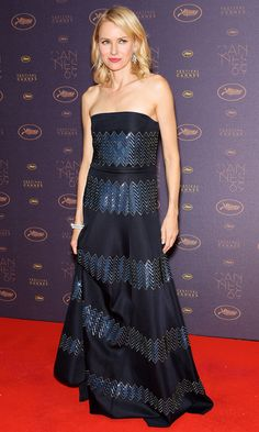 NAOMI WATTS at Cannes 2016 in a navy Giorgio Armani gown with iridescent blue zigzag stripes and shimmering chandelier earrings at the Opening Gala dinner.