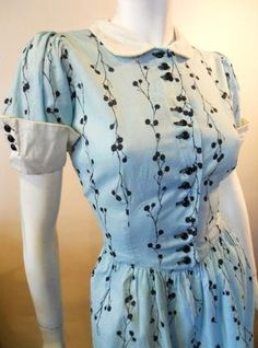 Cherry Print Aqua Cotton 1940s Day Dress