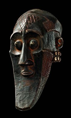 "Africa | Helmet mask ""kabongo"" from the Kuba people of DR Congo 