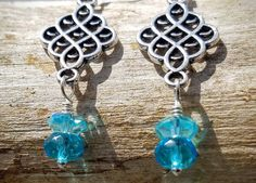 silver filigree earrings with turquoise dangles
