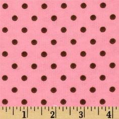 Flannelle imprimé - small dots - pink/brown