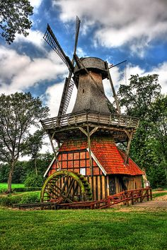 Windmill and water wheel together