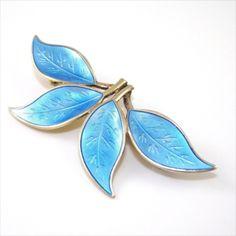 DAVID ANDERSEN Norway Sterling Silver & Blue Enamel Four Leaf Floral Pin Brooch Signed Fine Jewelry by VintagePolice4U on Etsy