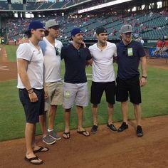 Jamie Benn, Brenden Dillon, Vern Fiddler, Tyler Seguin & Jordie Benn at the Rangers Ballpark