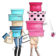 """More illustrations LINE BOTWIN """"girly illustrations"""" H. Nichols Illustration - """"What shopping problem? Moda Instagram, Glamour Moda, After Christmas Sales, Christmas Christmas, Megan Hess, Fashion Art, Fashion Design, Fashion Trends, Girly"""