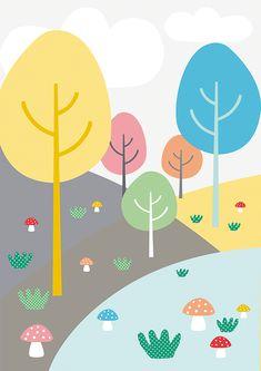 Lámina Bosque, Láminas decorativas, láminas cuadros, láminas infantiles, láminas niños, láminas decoración, láminas pared, láminas nórdicas, ilustración, ilustraciones niños, ilustración infantil, habitación bebé, decoración niños
