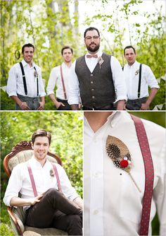 groomsmen looks- Love the vest & suspender option for a more casual, outdoor wedding.