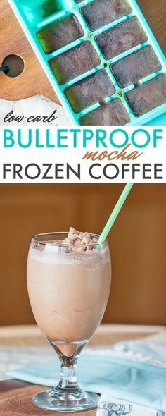 This bulletproof frozen mocha coffee recipe is perfect for low carb or ketogenic diets. Also enjoy iced instead of frozen. Easy and delicious! #lowcarb #keto #coffee #drink #bulletproof