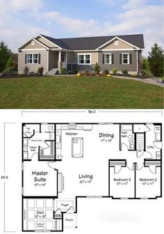LOVE the plan! - the master bathroom has it all! New House Plans, Dream House Plans, Small House Plans, House Floor Plans, My Dream Home, Open Floor Plans, Modular Floor Plans, Simple Floor Plans, Br House