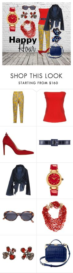 """""""HAPPY-HOUR!"""" by tinagarrison ❤ liked on Polyvore featuring Oscar de la Renta, Plein Sud, Stuart Weitzman, Cailan'd, Versace, Oliver Peoples, Arunashi, Aspinal of London and Roberto Cavalli"""