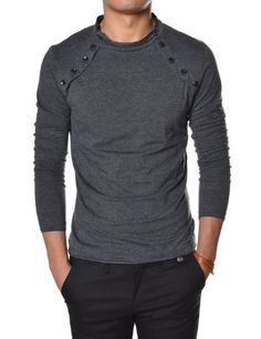 9573aa99f7e TheLees Mens Casual Long Sleeve Button Point V-neck Tshirts at Amazon Men s  Clothing store  Athletic Shirts