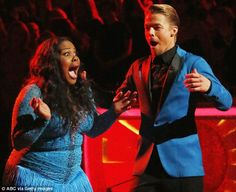 Amber Riley and partner Derek Hough after it was announced they had won on Dancing With The Stars. Photo - ABC Getty