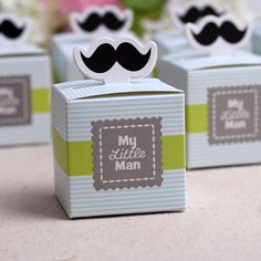 50pcs My little Man Cute Mustache Birthday Boy Baby Shower Favors Boxes Baby Shower Souvenirs wedding gifts for guests. Material:...