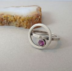 Orbit Ring with Rhodolite Garnet and Sterling Silver - Brushed Finish - Size 6 and three quarters - OOAK