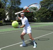 Perfect for tennis themed events, our comedy Tennis entertainer with his over giant tennis racket and over sized balls