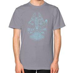 Blue Millennium Falcon Unisex T-Shirt (on man)