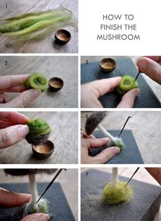 How to Make a Needle-Felted Mushroom - - Needle-felted mushrooms are a beautiful autumn craft. Creating something organic brings an earthy and simple elegance to the day. And the rooving (wool fleece) feels and smells so good. Needle Felted Animals, Felt Animals, Baby Animals, Felt Crafts, Fabric Crafts, Diy Laine, Felt Mushroom, Mushroom Crafts, Needle Felting Tutorials