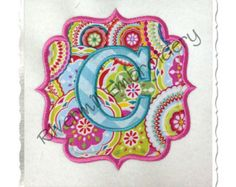 Fancy Swirls Monogram Frame Machine por StitchAwayApplique en Etsy