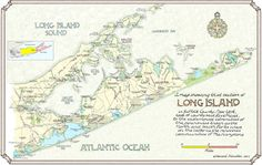 Eastern Long Island N.Y. in Two Sizes by NeoClassicalMaps on Etsy
