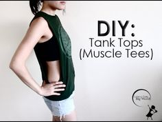 How To: Cut T-Shirts Into Cute Tank Tops with Big Dropping Arm Holes DIY Muscle Tees!