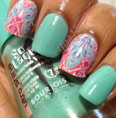 Jamberry Nails Faded Deco with So Laque! Bleu Model #jamberrynails #solaque