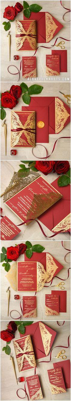 Glamorous & Elegant Red Gold Wedding Invitations #red #gold #elegant #glam #romantic #beautiful #weddingideas #hinduwedding #lace