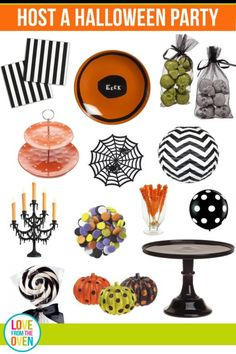 Just seeing all of these adorable decorations makes me want to host a Halloween party.  I adore all the black and white stripes, dots and chevron!