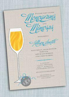 Monogram and Mimosas Printable Invitation - Wedding Bridal Shower Tea Luncheon on Etsy, $12.50