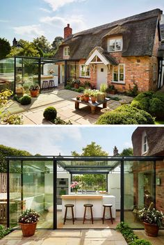 14 Examples Of British Houses With Contemporary Extensions // The thatched roof on this cottage may not be the most modern material, but the glass box extension helps modernize this traditional British home. Cottage Extension, House Extension Design, Glass Extension, Extension Ideas, Old Cottage, Cottage Homes, Cottage Style, Thatched House, Thatched Roof