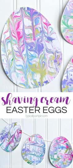 With just a few supplies, make this fun Easter Egg craft using marbled paper. The kids will have so much fun getting a little messy and creating some Easter decorations! #Easter #kidscraft #craft