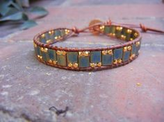 Bracelet with Miyuki Tila beads and gold by UnderWrapsBoutique, $42.00