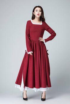 burgundy dressRed Linen Dress long sleeve dress Spring