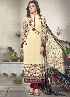 Beige Maroon Embroidery Work Georgette Silk Designer Fancy Churidar Printed Suit         #Anarkali #Churidar #Pakistani #Suit #Salwar #Bollywood       http://www.angelnx.com/Salwar-Kameez