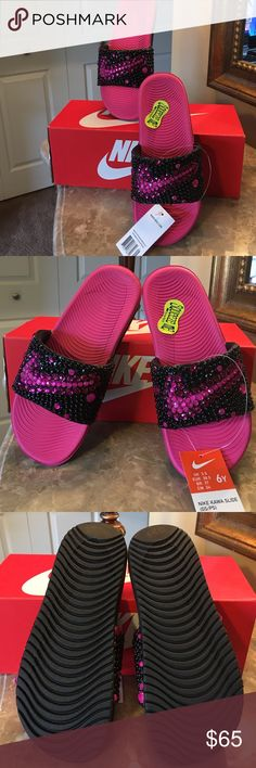 NIKE SLIDES BLINGED HOT PINK & BLACK! Size 6Y 7WMN Beautiful BLINGED out Nike slides SQUEEZE ME SOLAR SOFT! Custom made by me! The size is youth 6 but I wear a 7-7.5 and they fit well! These are a must have! I customer make each shoe and no two are exactly alike Nike Shoes Sandals